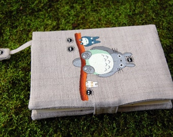 Note Book A6 size with Hand Painted Totoro pattern on handloom fabric Cover 3