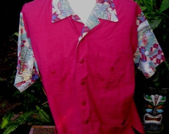Mens GUAYABERA Mexican Wedding shirt pit to pit 26.5 UNBRANDED golf 4 pockets