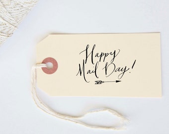Happy Mail Day Stamp Calligraphy Handwritten Stamp for Wedding, Shower, Party, Event or Christmas Cards and Packages  1.5 x 2 inches