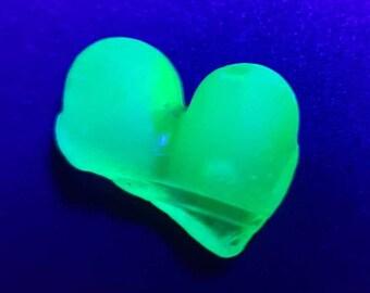UV Sea glass heart,bright UV glow,rare Scottish beach find.