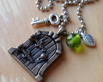 Fairy Door Necklace with Mini Key, Leaf Charm and Green Bead