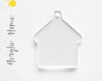 """25 Acrylic Keychain Blanks HOME  1/8"""" Thick( select Size & Color) (Optional Key Ring) laser cut With Polished Edges"""