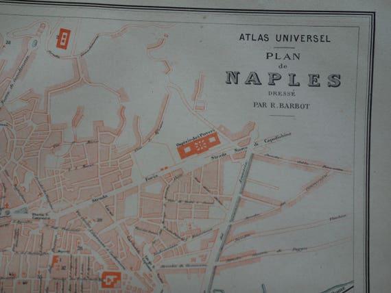 NAPLES old map of Naples Italy 1878 original big antique