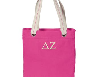 Delta Zeta Cotton Canvas Tote, DZ Tote Bag, Delta Zeta Book Bag