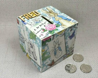Peter Rabbit Money Box, can be Personalised and comes with Free Gift Wrapping & hand drawn Gift Tag!