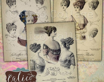 Printable, Digital, Collage Sheet, French Hair Styles, French Fashion, Journaling Cards, Junk Journal Tags, Printable Tags, Mixed Media