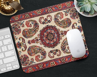 Persian Carpet Mouse Pad Red Rug Mat Geometric Desk Accessories Fl