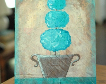 Verdigris Topiary, Original Mixed Media Painting - Distressed, Urban, Rustic, Contemporary