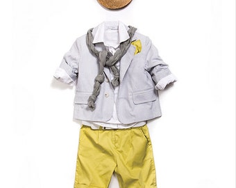Boy Grey/yellow Baptism outfit 5pcs-Luxury ring bearer Outfit-Boy First Birthday Outfit-Ring Boy Suit-Boy Christening suit-page boy suit