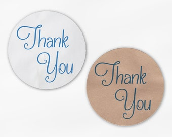 Thank You Script Wedding Favor Stickers in Royal Blue - Custom White Or Kraft Round Labels for Bag Seals, Envelopes, Mason Jars (2029)