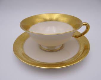 "Vintage Lenox ""Westchester"" Gold Encrusted Teacup and Saucer Set - 6 Available"
