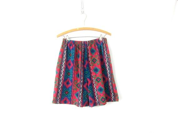 80s Cotton Shorts Vintage Pattern Shorts Elastic Waist Tribal Southwestern Print Shorts Summer Vacation Beach Wear Shorts Womens XL