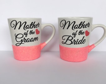 Mother of the Bride Personalized Glitter Dipped Coffee Mug, glitter dipped mug, wedding gift, mother of the bride, mother of the groom