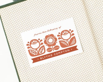 Folk-style Custom Bookplates, Personalized Book Label Stickers // DANISH GARDEN