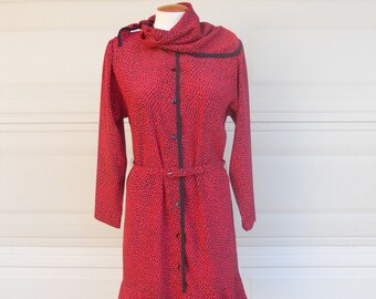 SALE Vintage Red Print Button Up Dropped Waist Dress & Scarf Neck by Lahn's Florida LIKE NEW