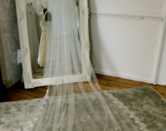 Lace edged Chapel length veil. Lace and tulle long wedding veil.