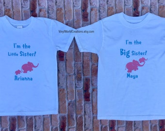 2 personalized t-shirts for Big sister and Little Sister, I'm the Big sister & I'm the Little sister t-shirt personalized set, pink elephant