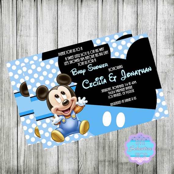 Baby mickey mouse invitation baby shower invitation baby filmwisefo