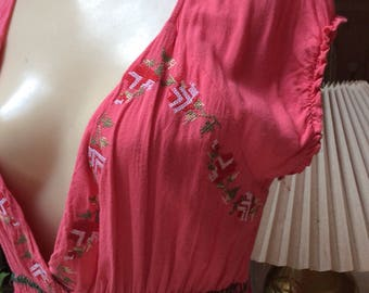 Vintage hippie boho summer embroidered maxi dress, flower embroidery coral color long dress, coral color summer peasant dress sz M