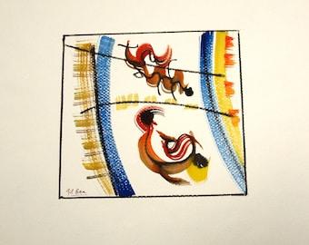 Kostenloser Versand-Aquarell. Original-Gemälde. Träume Nummer 24