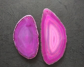 Extra Large Giant Faceted Bright Hot Pink Agate Pendant  -As Pictured -#160926025