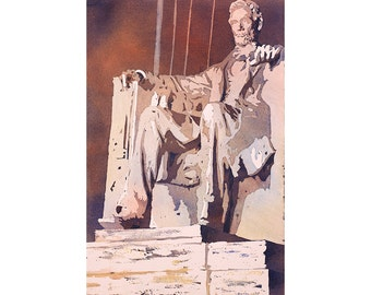 Lincoln Monument watercolor painting in Washington, DC.  Watercolor pouring.  Painting Lincoln Monument.  National Mall.  Watercolor art
