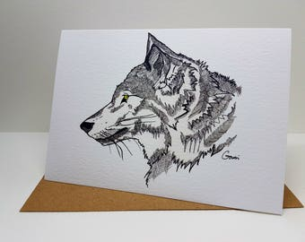 Greeting Card - Wolf ~ Ink Drawing