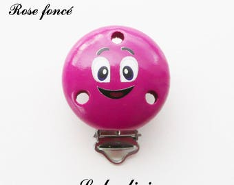 Clamp / Clip in wood, pacifier, buckle, smiley face: dark pink
