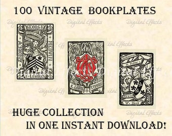 100 VINTAGE BOOKPLATE Collection, 100 JPG files in One Zip File. Antique Bookplates, Printable Bookplates, Ex-Libris,  Old Book Pages