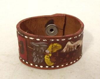 Colorful Eagle Warrior Aztec Mexico - Western Boho Bracelet - upcycled jewelry Hippie