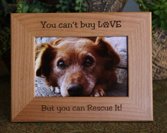 Personalized Pet Rescue Wood Picture Frame, Personalize Dog Picture Frame, Personalized Cat Photo Frame