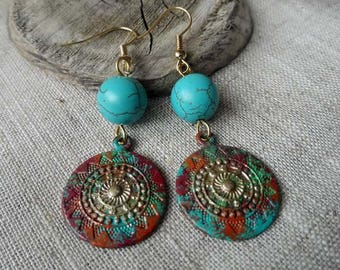 Boho  Earrings   Vintage Earrings   Ethnic Earrings   Verdigris Patina Earrings   Turquoise Earrings   Pendientes    Bohemian Earrings