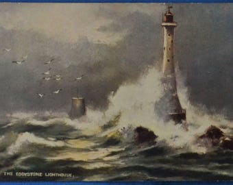 Rough Seas Eddystone Lighthouse Plymouth Devon England Great Britain Tuck Postcard