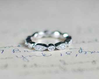 Cubic Zirconia Eternity Band - Full Eternity Ring - Milgrain Band - Sterling Silver Band - Wedding Band - Vintage Ring - Art Deco Ring - 3MM