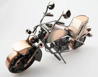 Zakka/Retro metal motorcycle sculpture copper paint.