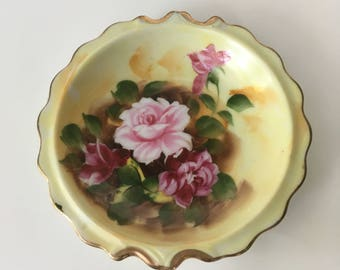 Vintage Rose and Gold Trim Trinket Dish - Ring Bowl - Jewelry Dish - Hand-Painted - Vintage - Yellow