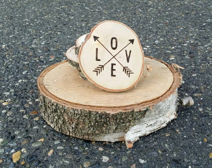 Love coasters - arrow coasters - Set of 4 LOVE Arrows Coasters-- Birch Log Slices-- Hand-woodburned