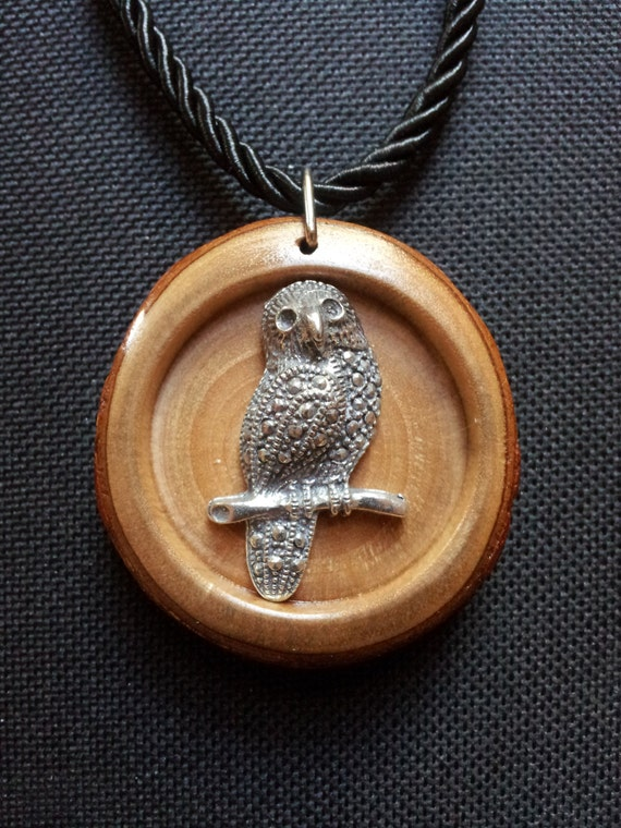 Owl Necklace in Reclaimed Laurel with free shipping worldwide ~ Owl Jewelry, Reclaimed Wood Pendant, Natural Jewelry