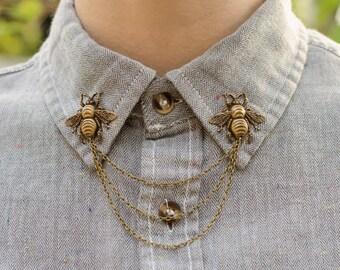 Bronze Bee Collar Chain/ Cardigan Clip