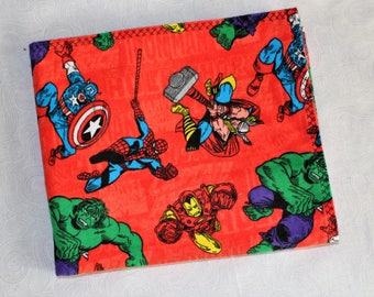 Marvel Characters Flannel Receiving Blanket, Red, Spiderman, Hulk, Thor, Iron Man, Captain America,