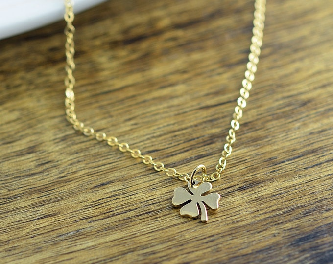 Four Leaf Clover Necklace, Gold Four Leaf Clover Necklace - Shamrock Necklace, Wedding, Bridesmaid, Birthday Gifts, Gift Ideas