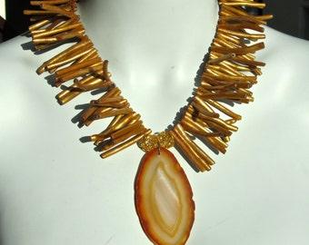Druzy Statement Necklace, Agate Druzy Geode Slice, Golden Coral, Tribal    008