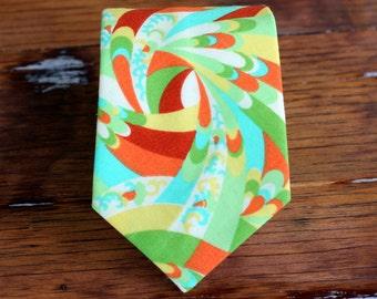 Boys Necktie, hip geometric print necktie for infant, baby, toddler, child - orange, blue, green red kids tie - pre tied neckties - gift