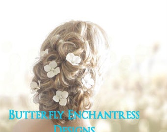 Ivory Hair Flowers, Bridal Hair Accessories, Wedding Hair Pins - 6 Ivory Hydrangea - Pearl Centers
