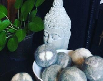 Decorative balls, decorative felt balls, felt pebbles, balls in a bowl, felt decor
