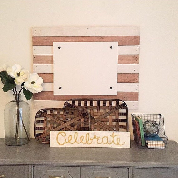Large Wood Photo Frame, Rustic Wood Striped Frame
