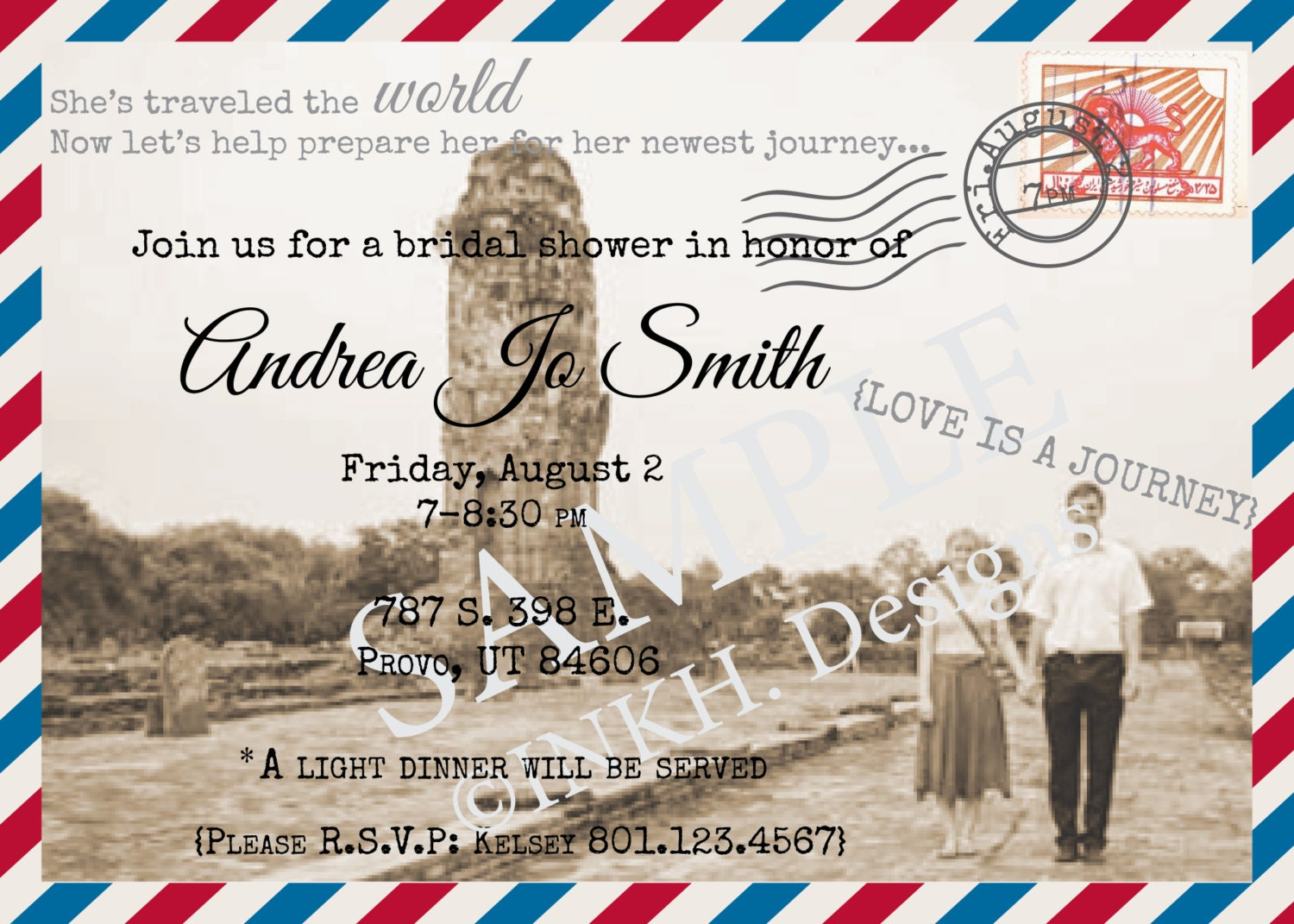 Travel Theme Bridal Shower Invitation Printable