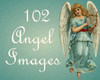 102 ANGELS vintage images DOWNLOAD Victorian postcards scraps printables holidays crafts digital art angelic Christmas snow cherubs