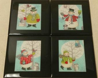 Winter Wonderland Friends Tile Coasters