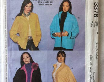McCall's 3376 UNCUT New Misses Size Extra Small, Small, and Medium Oversized Jacket Pattern